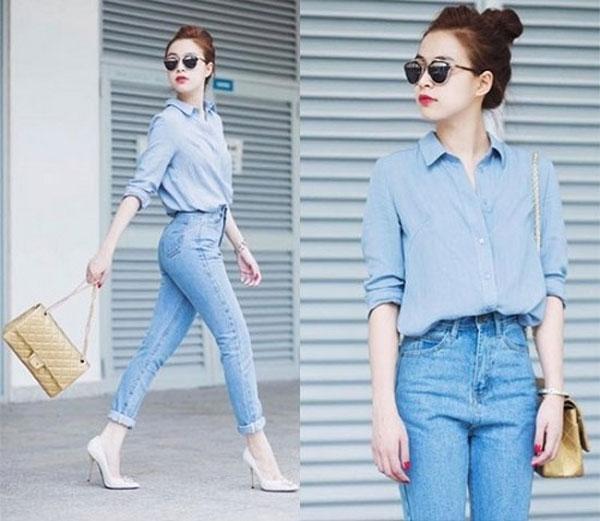 thoi trang phu nu tuoi 30 với mẫu áo sơ mi và quần jean