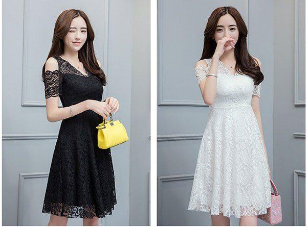 váy đầm cho người mập ren trắng hoặc đen phù hợp
