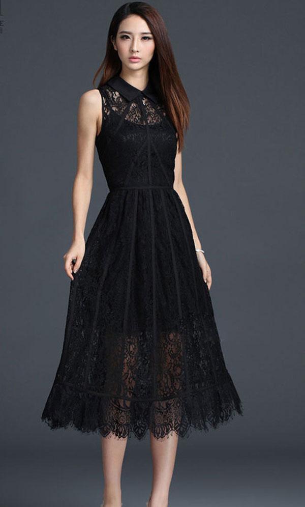 Mẫu đầm đen huyền bí - Mẫu váy liễn phụ nữ tuổi 30